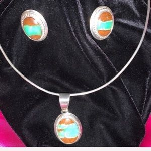 Royston Turquoise Pendant & Earrings Sterling 925